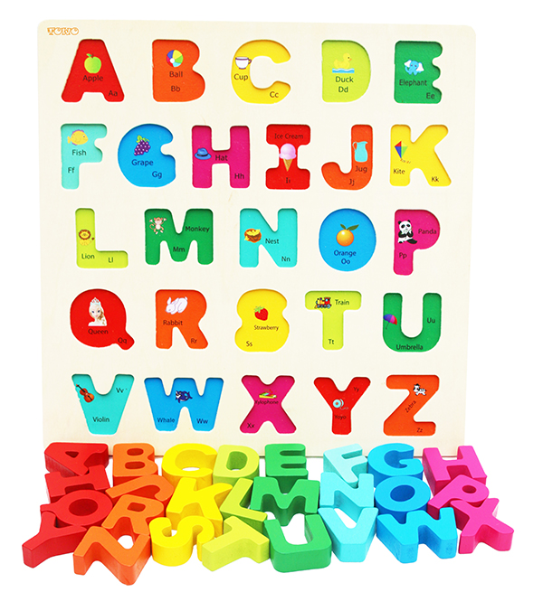 Wooden Alphabet Puzzle For Toddlers Chunky Size